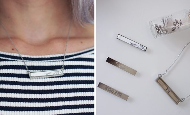 take what you need mi mooned bar necklace